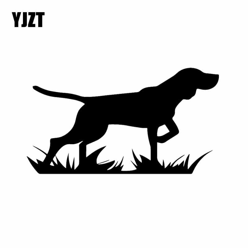 YJZT 16X8.9CM Bird Dog Hunting Pointer On Point! Vinyl Decal Car Sticker Window Tailgate Black/Silver C24-1279
