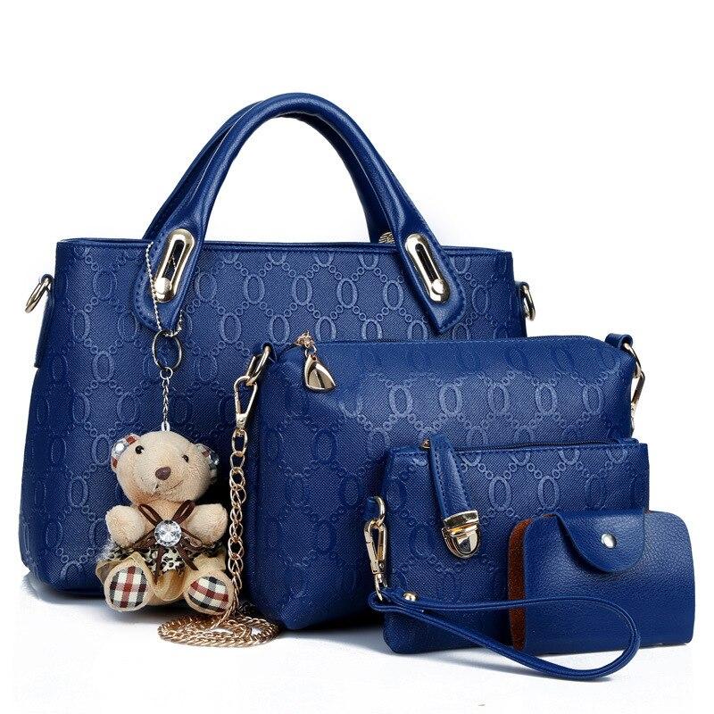 Foreign Trade 2017 New Style WOMEN'S Bag Stylish Bear Pendant 4-piece Bedding Set WOMEN'S Shoulder Bag Cross-body Handbag