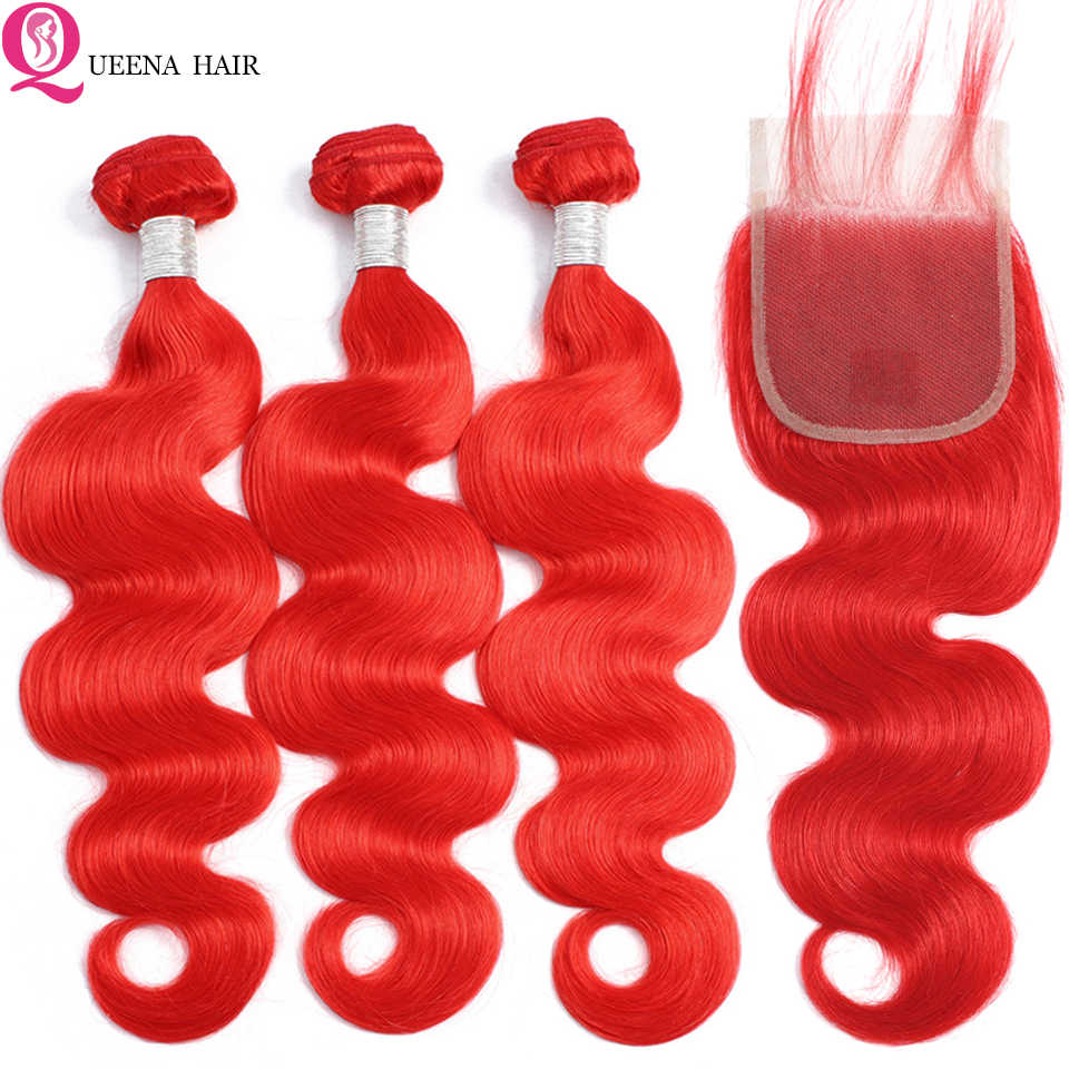 Indian Red Bundles With Closure Body Wave Colored bundles with closure Vivid Red Human Hair 3 Bundles With Closure Remy Hair