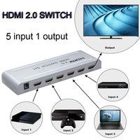 HDMI 2.0 Switch 5x1 HDMI Switcher Audio video Converter 4K 60Hz 3D 1080P w/ IR remote HDCP2.2 for PS3 PS4 TV BOX PC DVD to HDTV