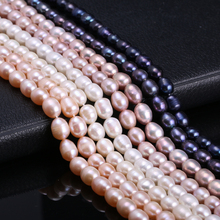 Natural Freshwater Cultured Pearls Beads Rice Shape 100% for Jewelry Craft Making DIY Strand 13 Inches Size 7-8mm
