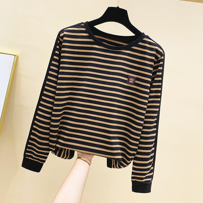 Женская футболка с длинным рукавом gkfnmt хлопковая в полоску