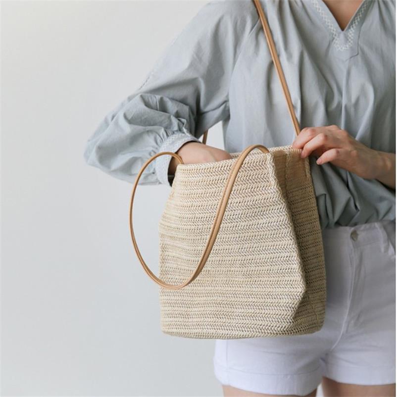 Соломенная Сумка-ведро, женские маленькие сумки на плечо из ротанга, женские летние сумки, большая вместительность, тканая пляжная сумка дл...