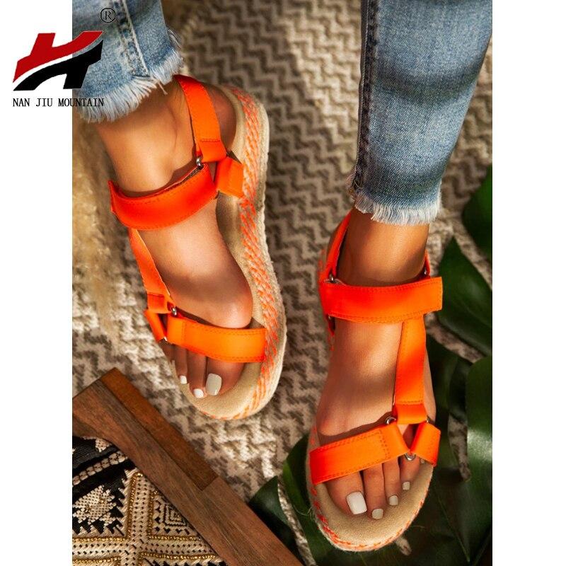 NAN JIU MOUNTAIN 2020 Casual Sandals Women's Platform Sandals Open Toe Bright Flat Shoes Handmade Straw Weave Plus Size 35-43