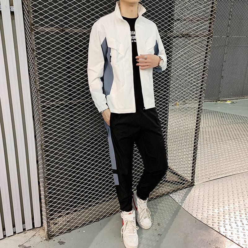 2019 New Style Autumn Men's Sports Suit Long-sleeved Sweater Trousers Youth Students Leisure Suit