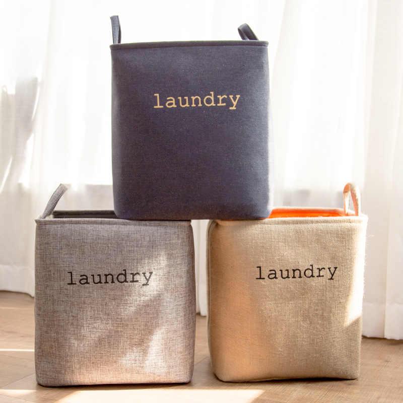 접는 세탁 바구니 큰 옷 보관 바구니 아이들을위한 개 장난감 옷 주최자 손잡이와 함께 두꺼운 세탁 양동이