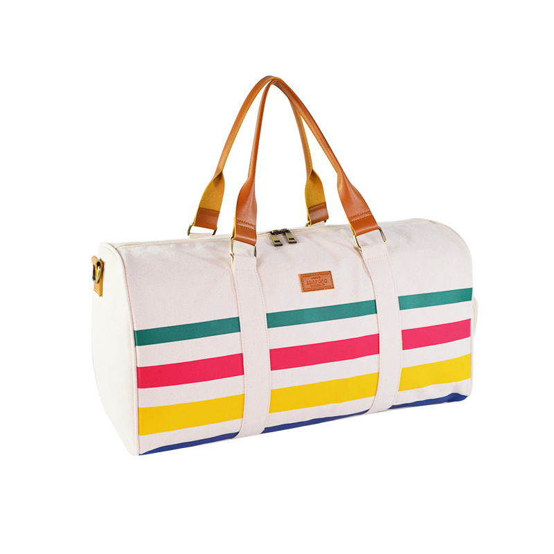12 Ann Canvas Travelling Bag Screen Printing Stripes Printed Travel Bag Napa Texture Leather Hand Large Capacity Travel Bag