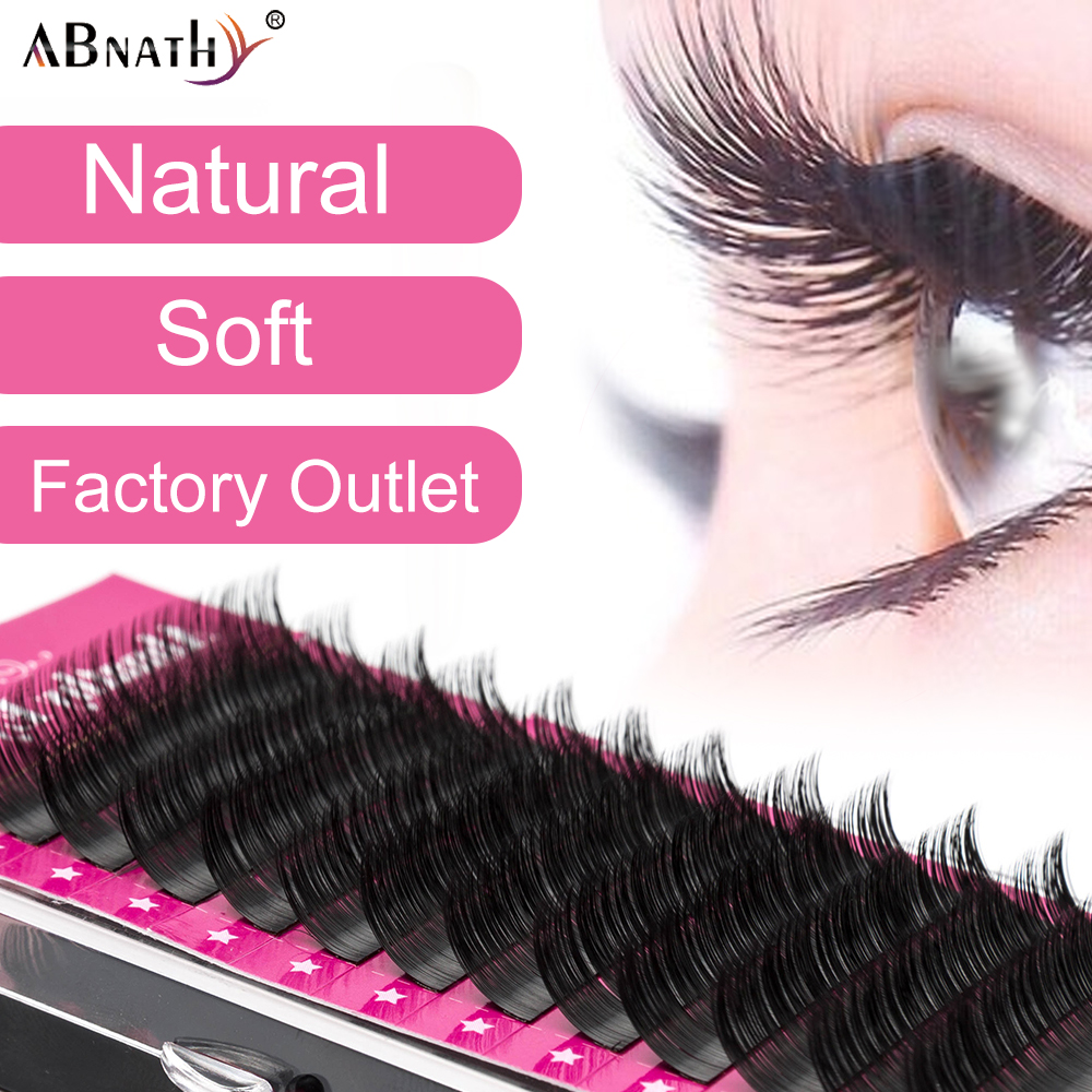 Abnathy 12rows/case 8~14mm And Mix Premium Natural Synthetic Mink Individual Volume Eyelash Extension Makeup Cilia Professional
