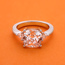 цена на 18K White Gold Plated Synthetic Sona Diamond Big 5 Carat Cushion Square Cut Ring 925 Sterling Silver Engagement Wedding Ring