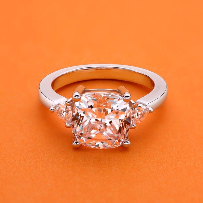 Ainusst 5 carats bague de fiançailles pour femmes en argent Sterling 925 bague de mariage anniversaire 3 pierres