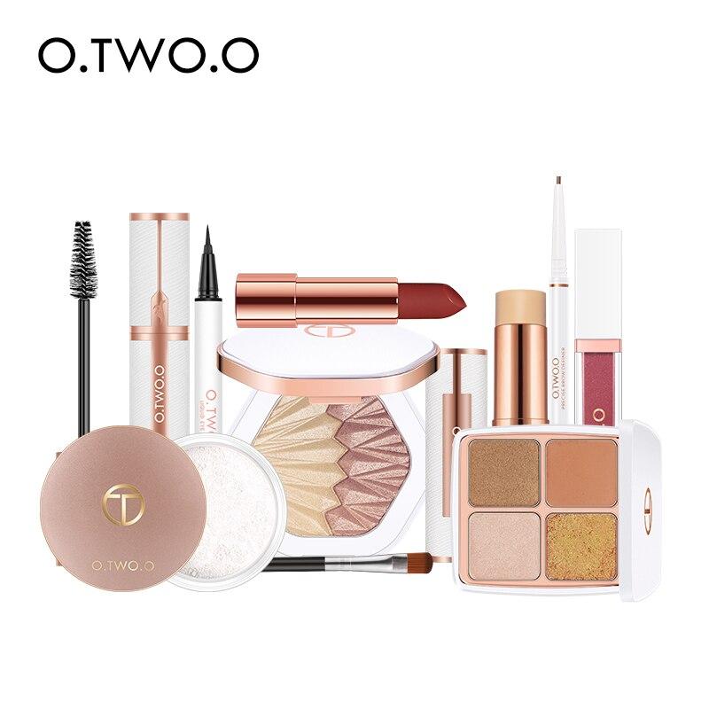 O.TWO.O 10pcs/lot Cosmetic Kit Include Eyeshadow Highlighter Eyes Makeup Loose Powder Lipstick Lip Gloss