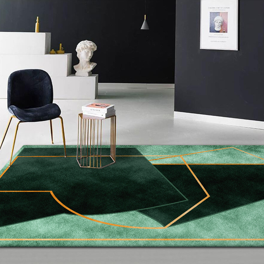 Stylish Modern Dark Green Color Irregular Geometry Pattern Carpet Plush Bedroom Rug Living Room Floor Mat Custom Made Door Mat