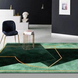 Stylowy i nowoczesny ciemnozielony kolor nieregularna geometria wzorzysty dywan pluszowe dywan do sypialni salon mata podłogowa do pokoju wykonane na zamówienie wycieraczka do butów|Dywany|Dom i ogród -