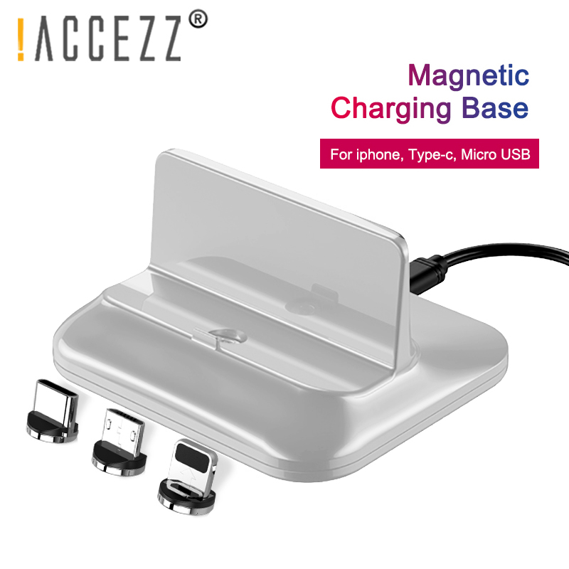 !ACCEZZ Magnetic Charging Stand Holder For Iphone 8 7 Plus X XS 11 Pro Type-C Micro USB For Samsung Huawei P30 Universal Charger