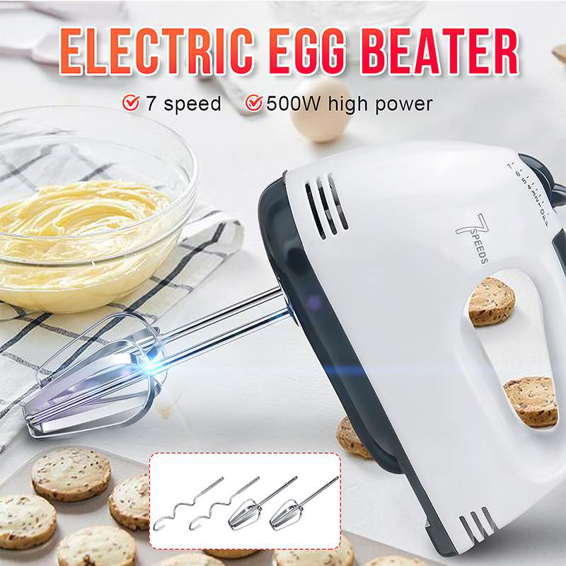 500W Mini 7 Speed Dough Hand Mixer Food-Blender Multifunctional Handheld Food Processor Automatic Electric Kitchen Mixer Tool