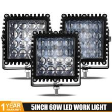 цена на 2PCS LED Work light 5 inch 60W 4D 16LEDs Spotlight work Lamp spot flood combo beam 6000LM LED light bar 12V 24V For Jeep ATV UAZ