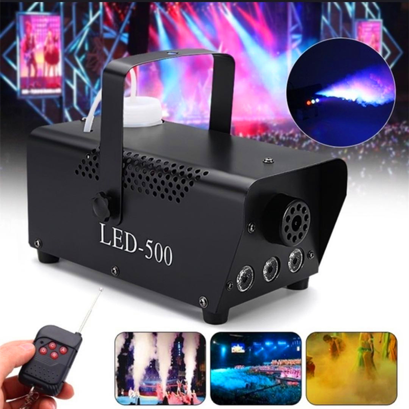 Disco Colorful 500W Smoke Machine With RGB LED Lights Wireless Control Mini LED Smoke Ejector Home Party Stage Fogger Equipment
