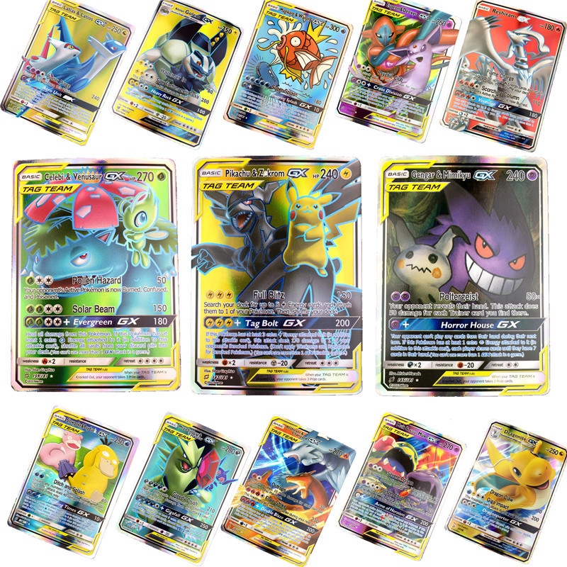Hot Sell GX EX Shining Pokemones Cards Game Battle Carte 25 50 100pcs Trading Cards Game Kids Toys