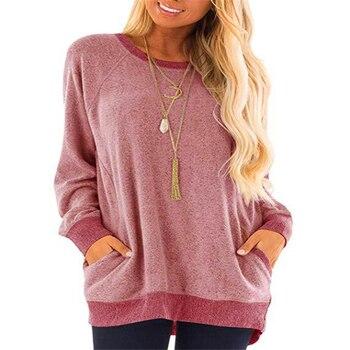 New autumn/winter 2020 collar contrast color pocket guard length sleeve sweatshirt casual contrast sleeve tape detail sweatshirt dress