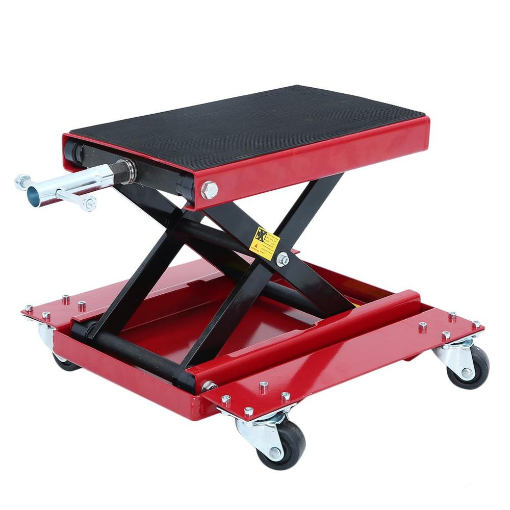 New FR Heavy Duty Motorcycle Jack With Four Wheels Universal 500KG Scissor Lift Stand Durable Autobike Repairing Platform