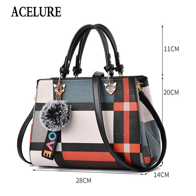 ACELURE Trendy Fashion Patchwork Women Crossbody Bags High Quality PU Leather Female Shoulder Bag with Fur Ball Handbag 4 Colors