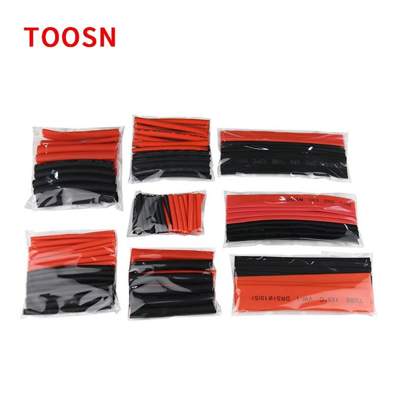 Toosn 150 pces preto e vermelho poliolefina 2:1 tubo do psiquiatra do calor 2mm 2.5mm 3.5mm 5mm 6mm 8mm 10mm 12mm cabo sleeving termoretractil