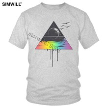Vintage Psychedelic Triangle T-shirt Men Stylish Short Sleeves Cotton Tees Crew Neck Moon Side T Shirts Oversize Streetwear Tee(China)