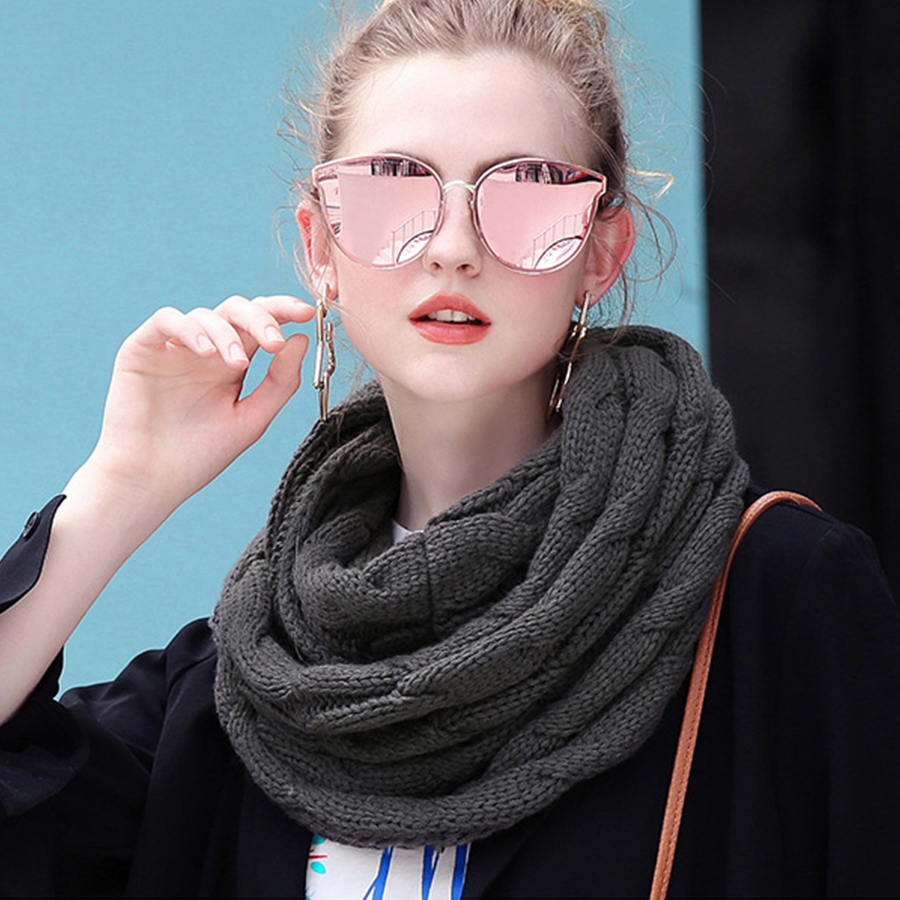 Solid Knitted Wool Cable Ring Scarf Women Soft Winter Warm Thicken Scarves Cashmere Neck Circle Scarf Female Korean Simple Scarf