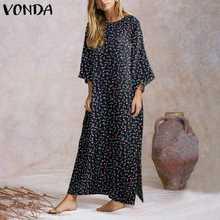 VONDA abito primavera donna manica lunga Split Party Maxi Dress 2021 Casual floreale stampato Sundress abiti larghi Plus Size