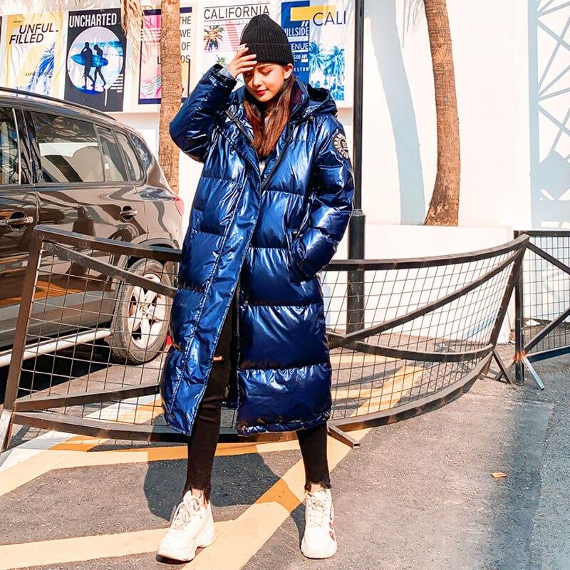 Women Winter Hooded Parkas   down     Coat   High Street Fashion Metal color Spliced Long Parkas New Glossy Zipper Loose Outerwear YRF77