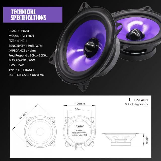 2 stücke 4 Inch 70W Vollständige Palette Frequenz Auto Audio Lautsprecher Schwere Mid bass Ultra dünne Geändert lautsprecher Nicht destruktiv Installation|Koaxial-Lautsprecher|   -