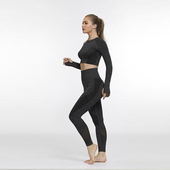 Bezszwowe kobiety joga zestaw legginsy + przycięte koszule odzież sportowa trening ubrania sportowe kobieta z długim rękawem strój do fitnessu odzież sportowa tanie i dobre opinie NYLON WOMEN Pełna Pasuje prawda na wymiar weź swój normalny rozmiar Stałe Anty-pilling Anti-shrink Przeciwzmarszczkowy