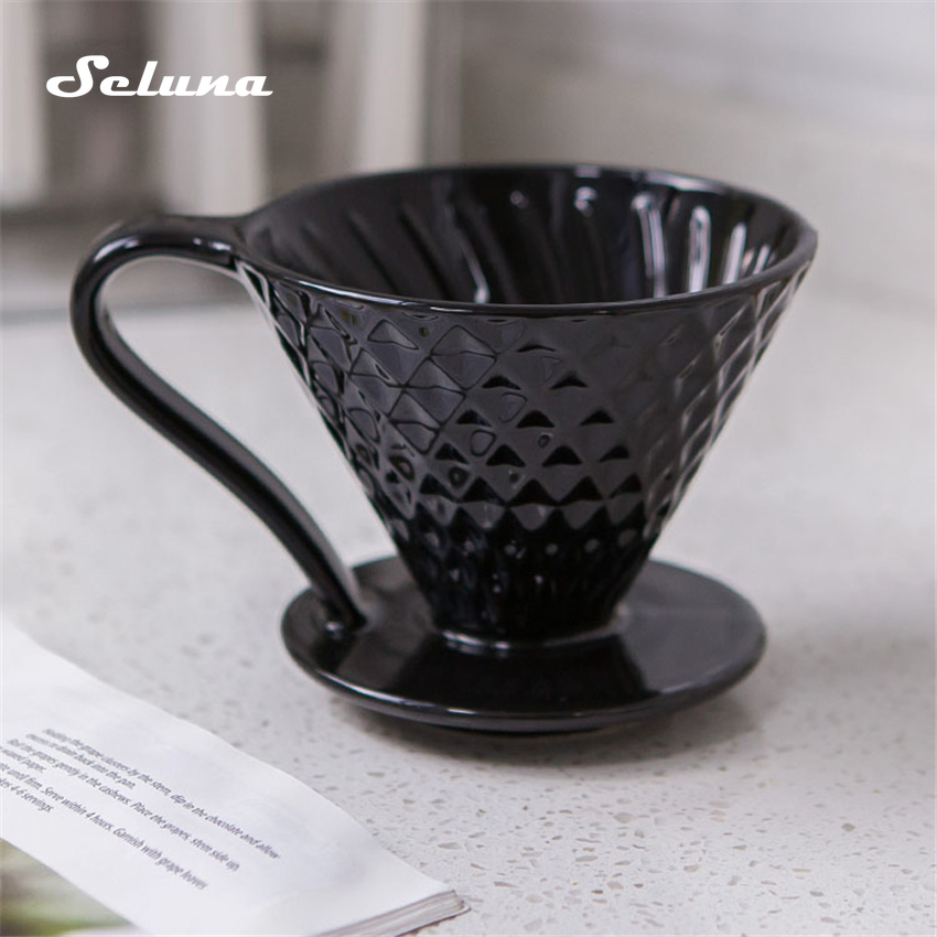 Ceramic Coffee Filters V60 Coffee Drip Filter Cup Diamond Shape Brewer Pour Over Coffee Maker Drip Cone Filter Permanent 1-4cups