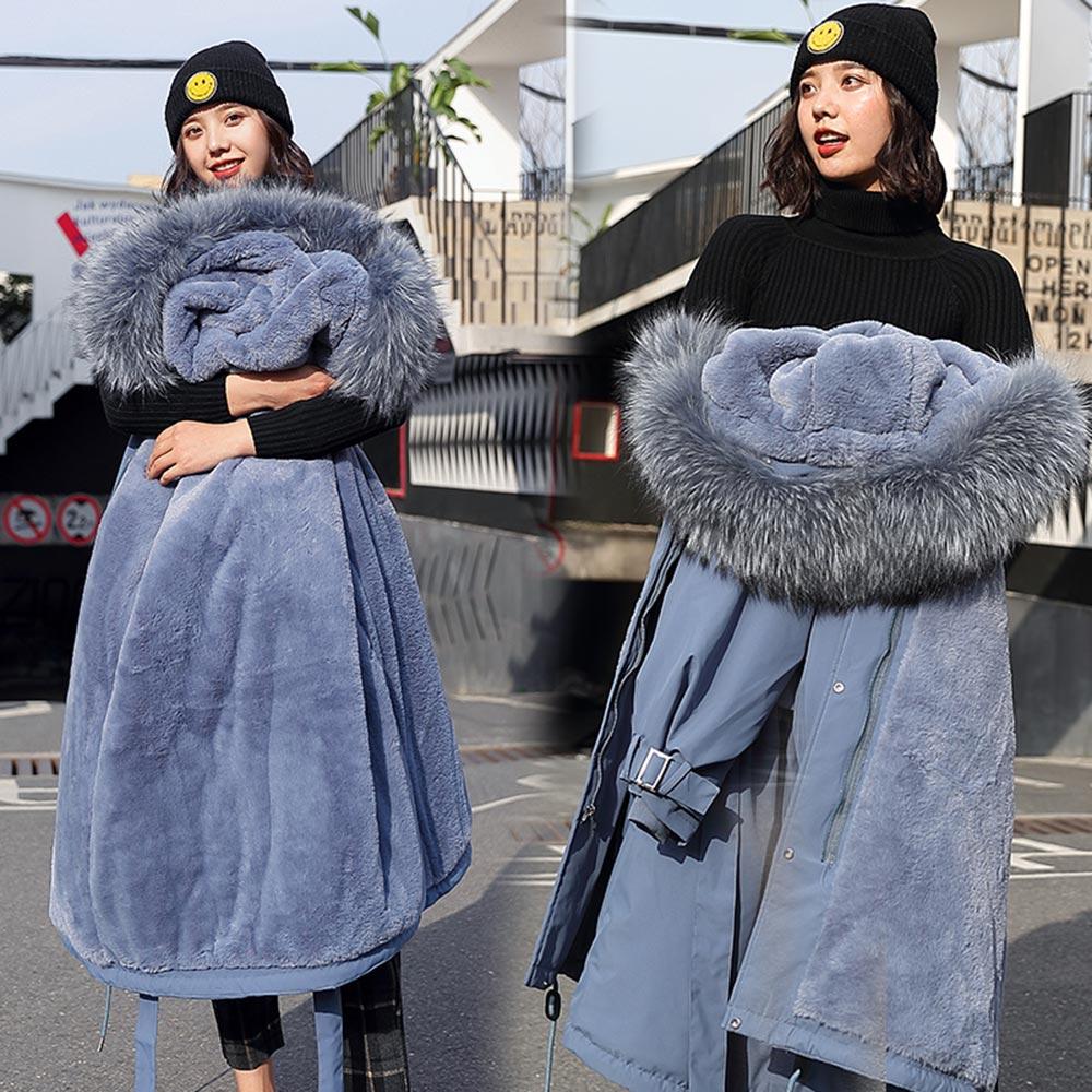 Vielleicht -30 градусов Новое поступление 2019 Для женщин зимняя куртка с капюшоном и меховой воротник женское длинное зимнее пальто, парки с Мехова...