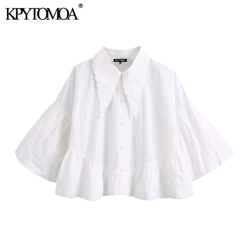 KPYTOMOA Women 2020 Sweet Fashion Buttons Ruffled Cropped Blouses Vintage Wide Lapel Collar Puff Sleeve Female Shirts Chic Tops