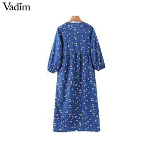 Image 2 - Vadim women floral print midi dress V neck long sleeve elastic pleated female casual stylish blue dresses vestidos QD131