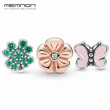 925 sterling silver jewelry Four-Leaf Clover and Ladybird Butterfly Petite Flower Petite Locket charms beads fit necklaces DIY(China)