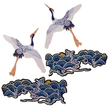 2Pack Crane Luckyloud Embroidered Badge Iron on Sew on Patch for Clothes Jackets Jeans Backpack Caps