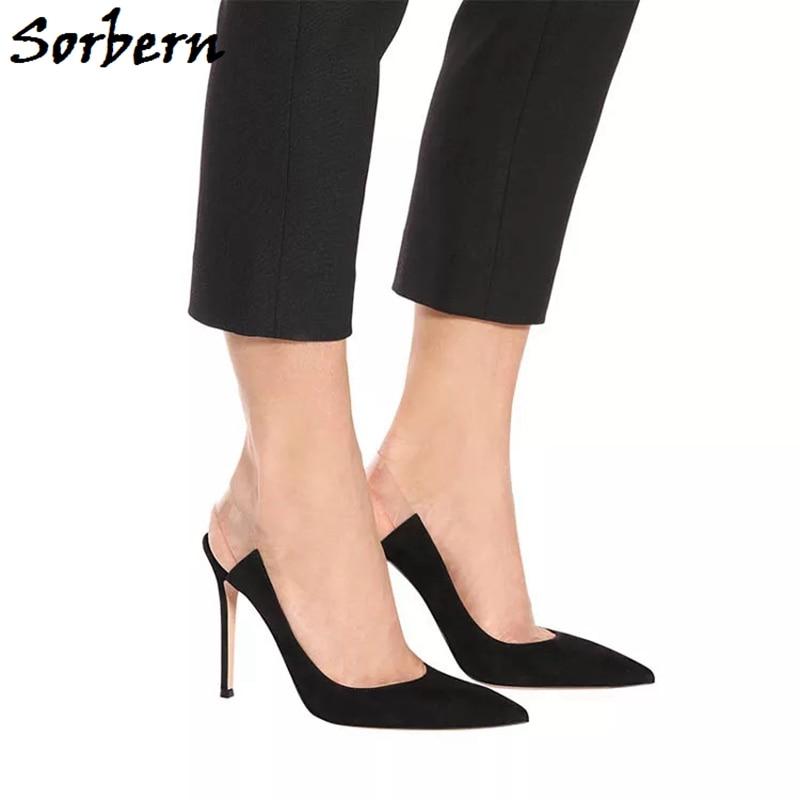 Sorbern Transparent Slingbacks Strap Women Pump Pointy Toes Slip On Mature Ladies High Heel Stilettos Black Heels Custom Color