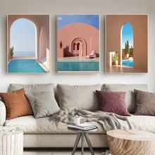 Architettura islamica immagini piscina ingresso poster paesaggio tela pittura stampe Wall Art Modern Home Decor