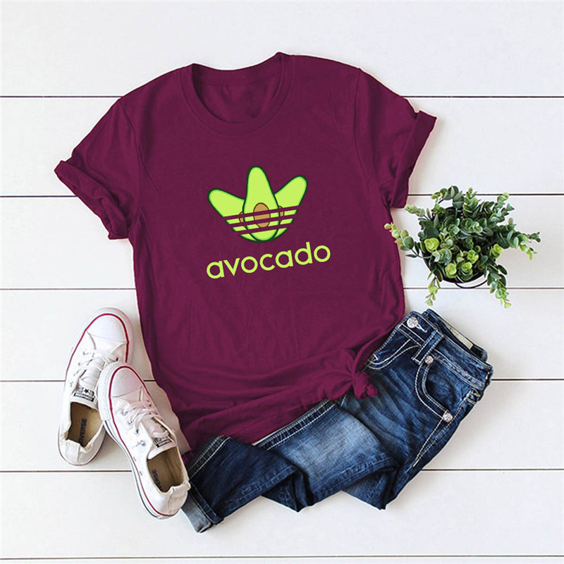 Plus Size S-5XL New Avocado Print T Shirt Women Shirts 100%Cotton O Neck Short Sleeve Summer TShirt Tops  Funny T Shirts