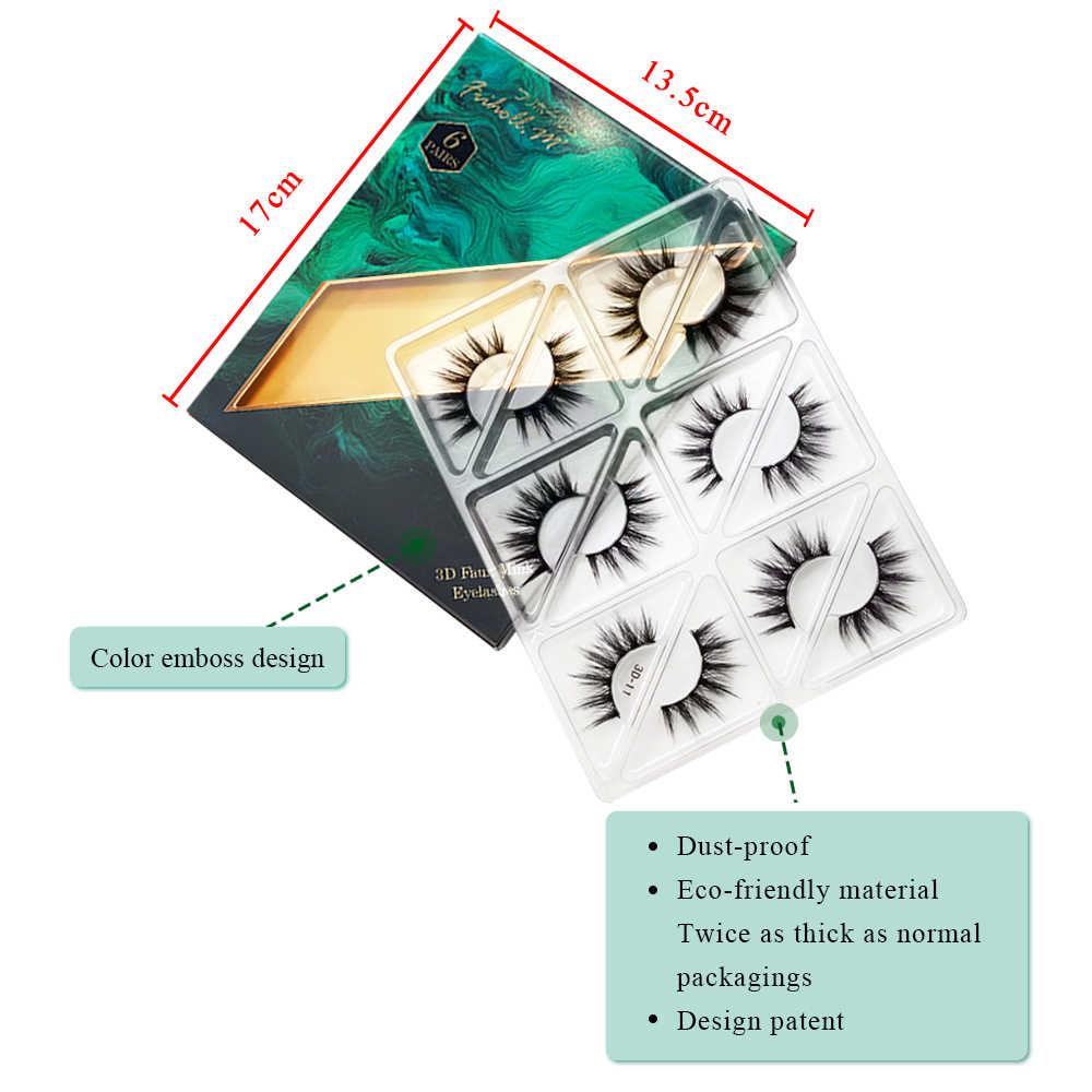 6 Pairs Friholl.m 3d faux mink eyelashes wholesale synthetic strip silk lashes new makeup natural false+eyelashes