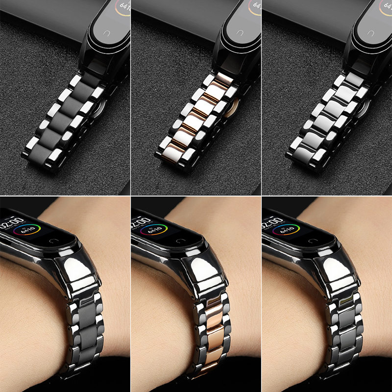 Ceramic Bracelet For Mi Band 4 3 Strap Metal Stainless Steel Buckle Holder For Xiaomi Mi Band 3 Miband 4 Wristbands Accessories