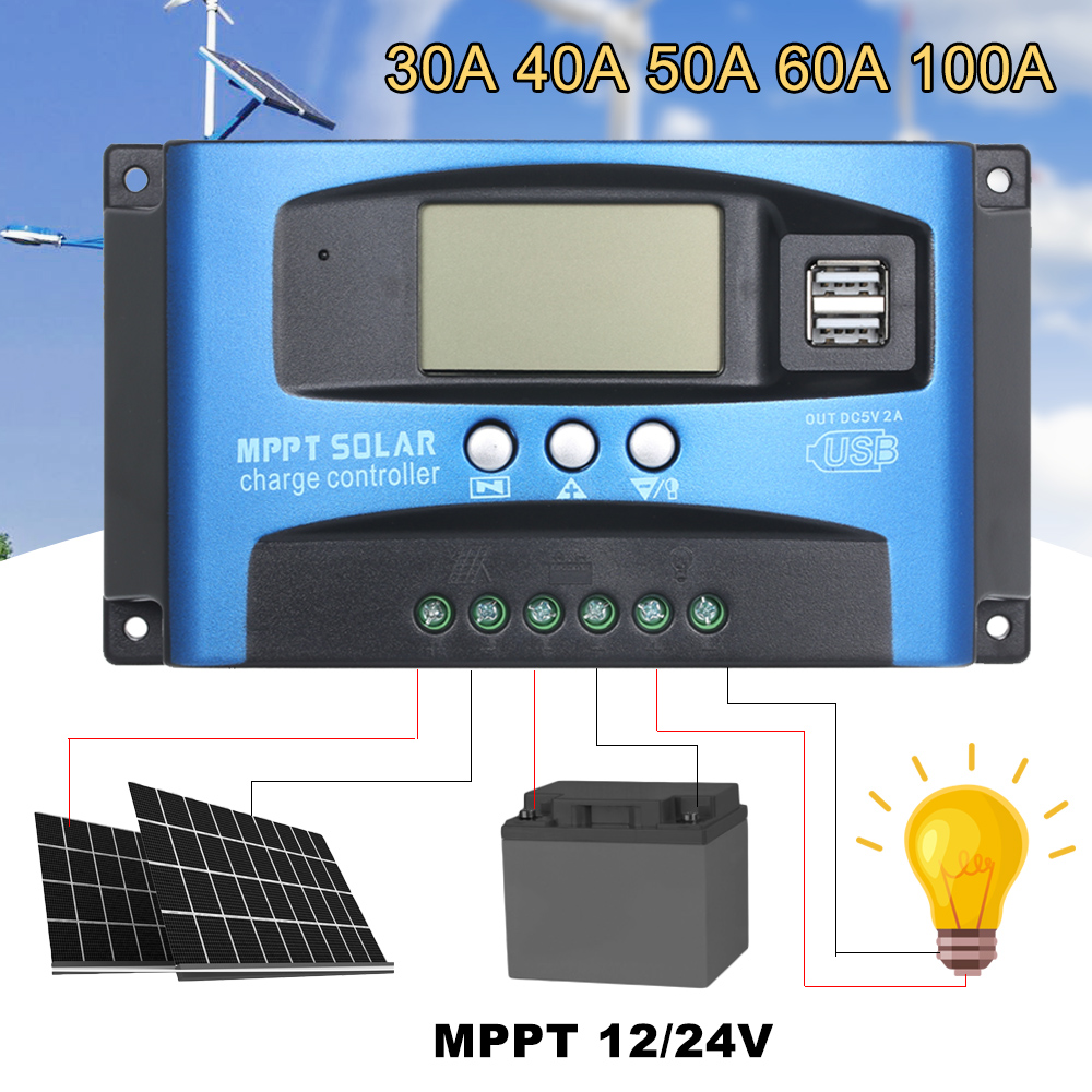 MPPT Solar Charge Controller Dual USB LCD Auto Solar Cell Panel Charger Regulator MPPT 60A 30A 40A 50A 100A Solar Regulador-in Solar Controllers from Home Improvement