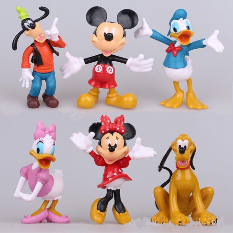 Mickey&Minnie Mouse Action Figures Doll Toy Cartoon Mickey Minnie Goofy Dog PVC Cake Decoration Children Christmas Gift 6pcs/Set