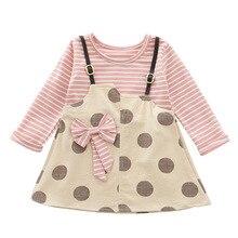 Весеннее платье для маленьких девочек, платье в горошек для малышей, модные детские платья для девочек, милая Одежда для девочек