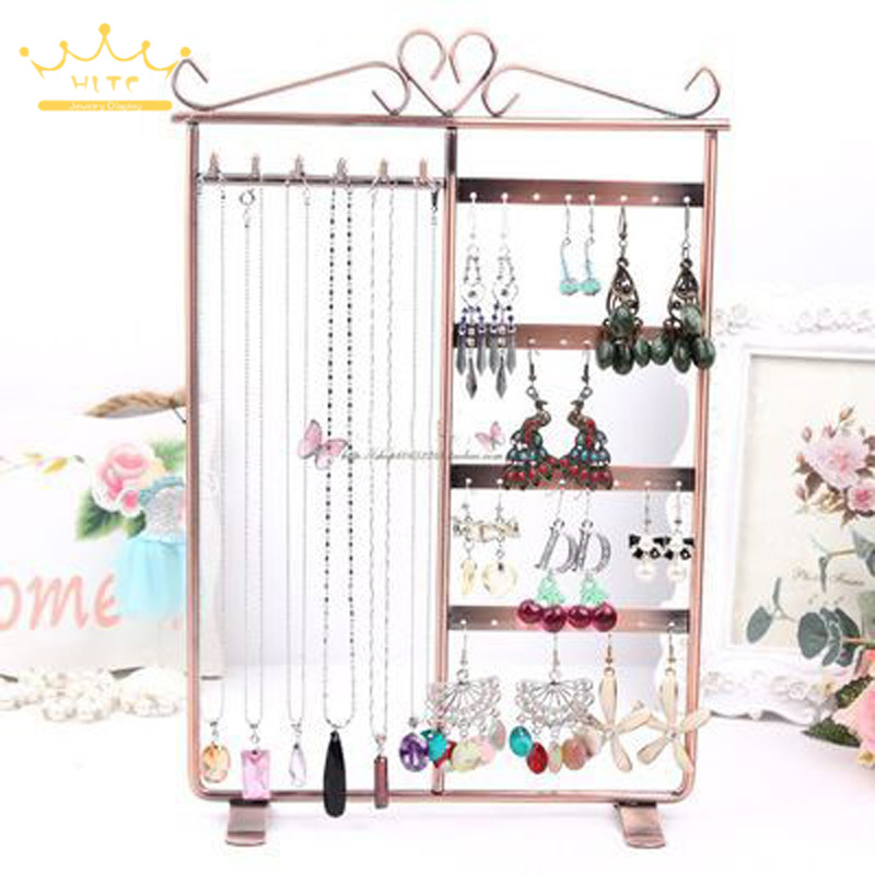 32 Holes Metal 6 Hooks Mounted Earring Necklace And Bracelet Display Stand Metal Jewelry Storage Stand Earring Holder