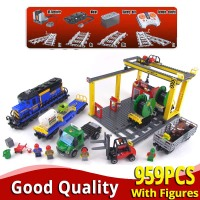 LEPINing CITY 02008 959PCS compatible 60052 robot train with track toy Building Bricks Blocks educational toys boy Birthday Gift