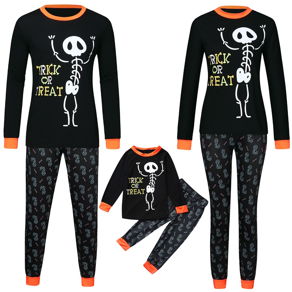 Family Matching Clothes Halloween  Families Long Sleeve Letter Print Tops+Pants Family Clothes Pajamas Set