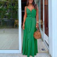 Verano túnica verde Maxi vestido cuello en V bata cinturón femenino elegante volantes Fiesta Vestidos largos Spaghetti Correa vestidos informales Mujer